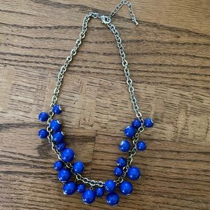 Gold & Bright Blue Short Beaded Necklace